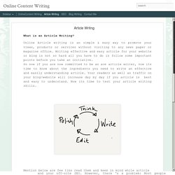 Online Content Writing: Article Writng