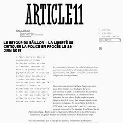 Le retour du bâillon – La liberté de critiquer la police en procès le 29 juin 2015 - Communiqué