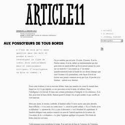 Aux fossoyeurs de tous bords - Comité de rédaction d'Article11