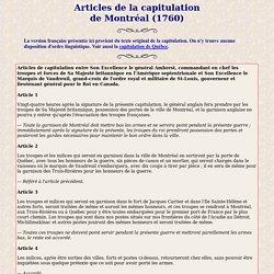 Articles de la capitulation de Montréal de 1760
