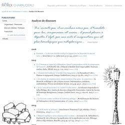 Articles de Patrick Charaudeau - Analyse de discours