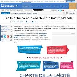 lefigaro.fr : Les 15 articles de la charte de la laïcité à l'école