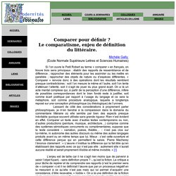 """articles : M. Gally : """"Comparer pour définir?"""""""