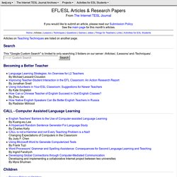 EFL/ESL Articles from The Internet TESL Journal