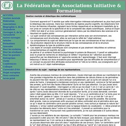 Articles de Gestion Mentale : G M et mathematique