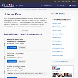 List of books and articles about History of Music