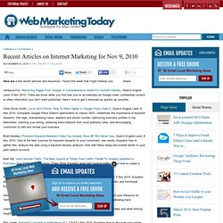 Recent Articles on Internet Marketing for Nov 9, 2010 - by Ralph F. Wilson