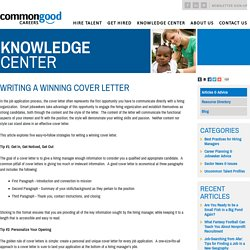 Writing a Winning Cover Letter › Articles › Knowledge Center › Commongood Careers