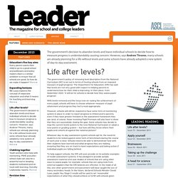 Articles > Life after levels? - Leader Magazine