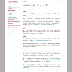 Articles - Louis Marin :