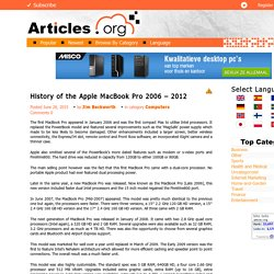 History of the Apple MacBook Pro 2006 – 2012