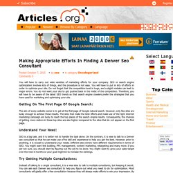 Making Appropriate Efforts In Finding A Denver Seo Consultant