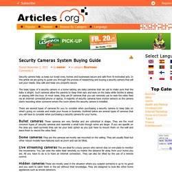 SECURITY CAMERAS SYSTEM BUYING GUIDE