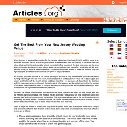 Get The Best From Your New Jersey Wedding Venue