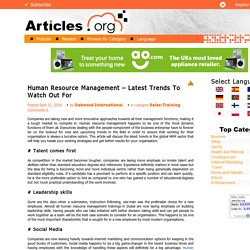 Human Resource Management – Latest Trends To Watch Out For