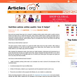 Nutrition advice online austin: how it helps?