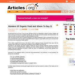 Wonders Of Organic Food And Where To Buy It