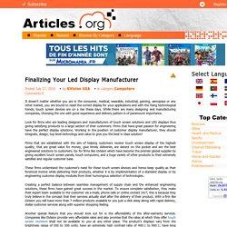 Finalizing Your Led Display Manufacturer
