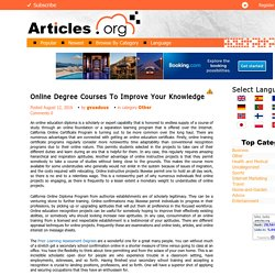 Online Degree Courses To Improve Your Knowledge