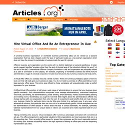 Hire Virtual Office And Be An Entrepreneur In Uae