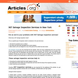 907 Salvage Inspection Services in New York