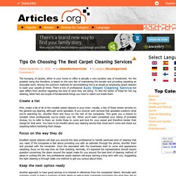 Tips On Choosing The Best Carpet Cleaning Services