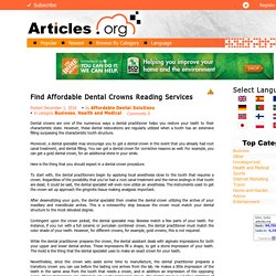 Find Affordable Dental Crowns Reading Services