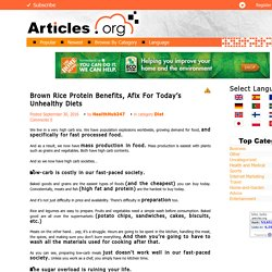 Brown Rice Protein Benefits, Afix For Today's Unhealthy Diets