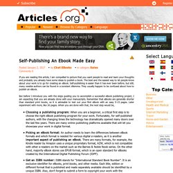 Self-Publishing An Ebook Made Easy