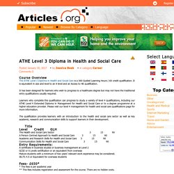 ATHE Level 3 Diploma in Health and Social Care