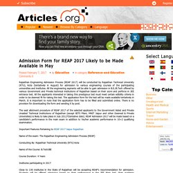 Admission Form for REAP 2017 Likely to be Made Available in May