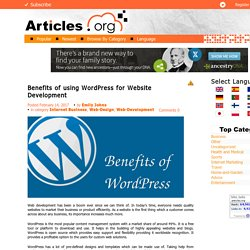 Benefits of using WordPress for Website Development