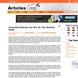 Launceston Business Van Hire for Your Business Needs