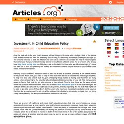 Investment in child education policy