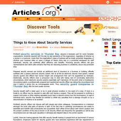 Things to Know About Security Services