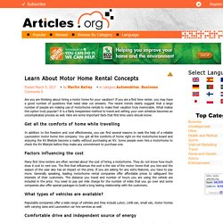 Learn About Motor Home Rental Concepts