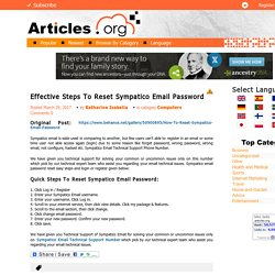Effective Steps To Reset Sympatico Email Password