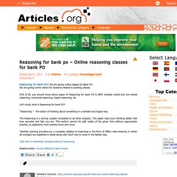 Reasoning for bank po – Online reasoning classes for bank PO