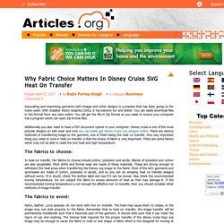 Why Fabric Choice Matters In Disney Cruise SVG Heat On Transfer