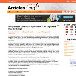 Independent Contractor Agreement – An Important Step in Hiring!