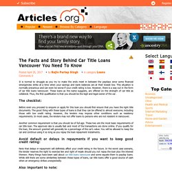 Facts About Car Title Loans In Vancouver