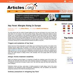 Hay Fever Allergies Rising In Europe