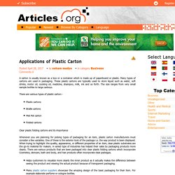 Applications of Plastic Carton