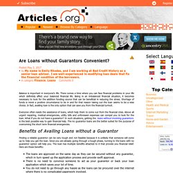 Are Loans without Guarantors Convenient?