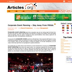 Corporate Event Planning - Stay Away From Pitfalls