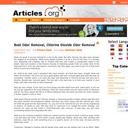 Boat Odor Removal, Chlorine Dioxide Odor Removal