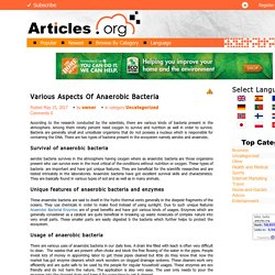 Various Aspects Of Anaerobic Bacteria