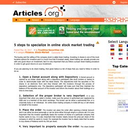 5 steps to specialize in online stock market trading
