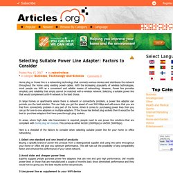 Selecting Suitable Power Line Adapter: Factors to Consider