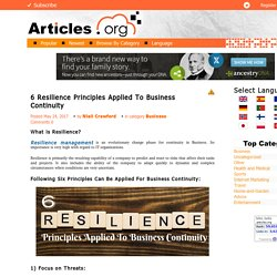 6 Resilience Principles Applied To Business Continuity